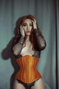 23 INCH WAIST LITA SUNSET ORANGE SILK WAIST TRAINING CORSET