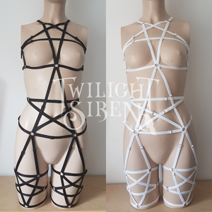 PENTAGRAM full body playsuit harness ouvert suspender brief lingerie - TWILIGHT SIREN