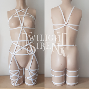 PENTAGRAM full body playsuit harness ouvert suspender brief lingerie white - TWILIGHT SIREN
