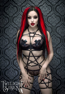 Pentagram full body elastic playsuit harness- Twilight Siren