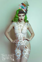 Pentagram full body playsuit harness white - Twilight Siren