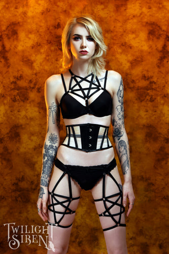 Pentagram suspender harness black - Twilight Siren