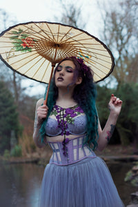 Purple silk mesh underbust corset Twilight Siren