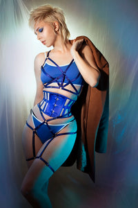 ELIZA SATIN COUTIL & MESH CINCHER
