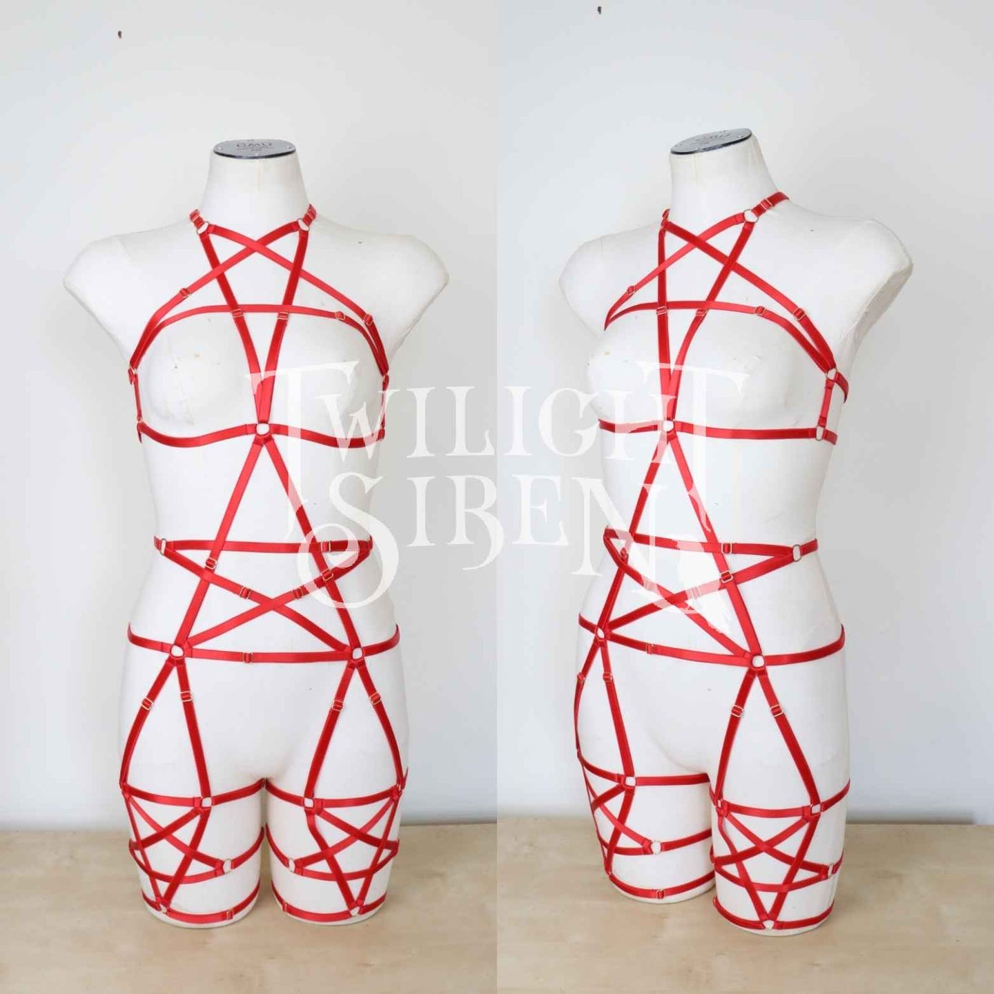 RED PENTAGRAM FULL BODY PLAYSUIT HARNESS UK 16-18