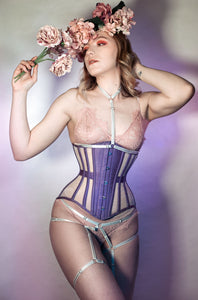 22 INCH LITA UNDERBUST PURPLE SILK & MESH CORSET - SHOOT SAMPLE
