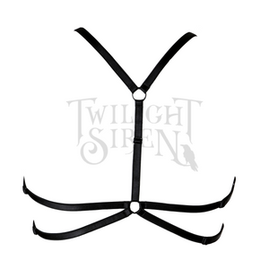 septagram body harness bralet luxury elastic strap lingerie black by Twilight Siren