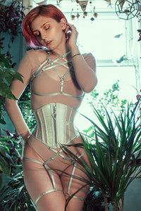 VOLUSPA ZIP FRONT SILK AND MESH RIDING CORSET