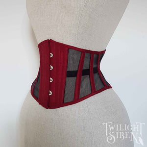 SKADI CORSET WASPIE RED SILK AND MESH UNDERBUST TWILIGHT SIREN