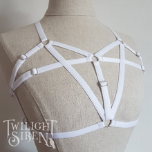 TALIA body harness bralet luxury white elastic lingerie by Twilight Siren