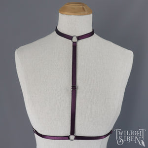SARAH CHOKER BODY HARNESS AUBERGINE PURPLE