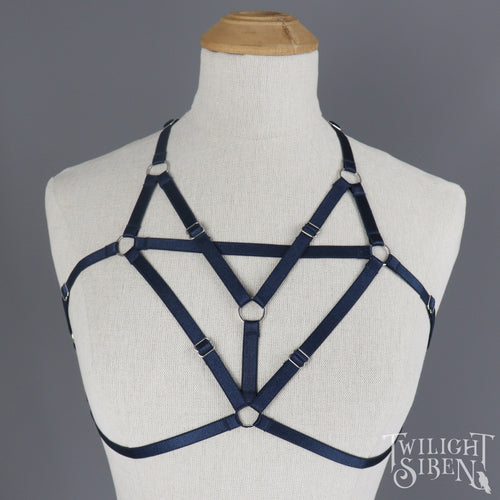 NAVY KISA BODY HARNESS BRALET MEDIUM UK 12-14