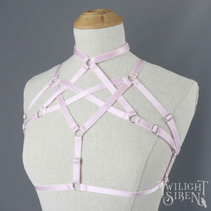 HEXAGRAM BODY HARNESS BRALET PASTEL PINK