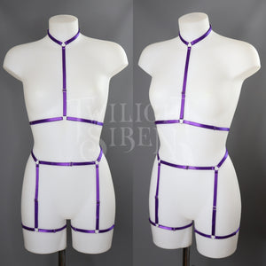 SARAH PURPLE CHOKER BODY HARNESS SET