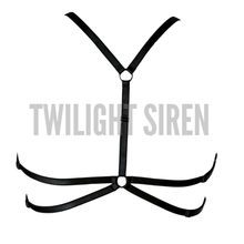 KISA luxury elastic strap harness bra lingerie black by Twilight Siren
