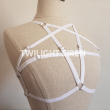 PENTAGRAM luxury elastic strap harness bra lingerie white by Twilight Siren