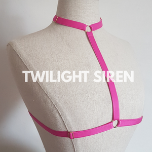 SARAH choker body harness bralet PINK TWILIGHT SIREN