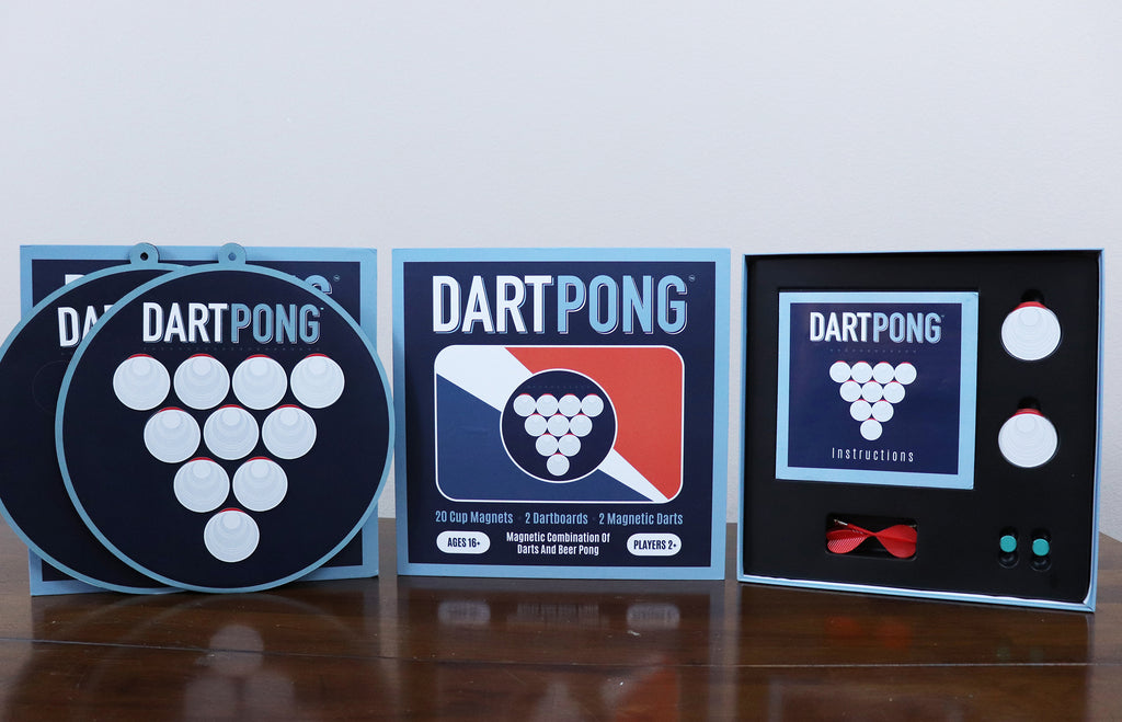 Dart Pong = Beer Pong + Darts. Indoor party game.