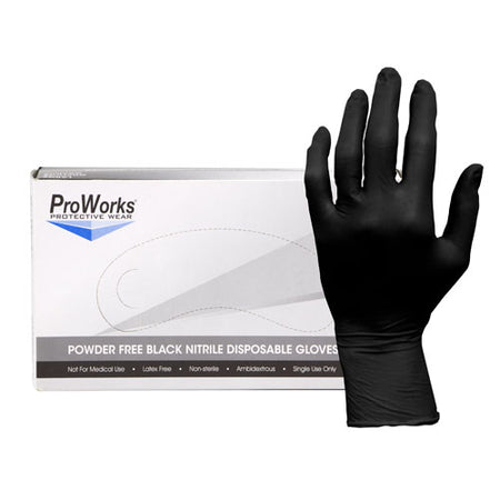 Adenna ProWorks® Small Black Nitrile Exam Gloves, Powder Free 3 mil- Box 100