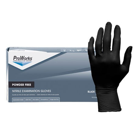 Adenna ProWorks® Black Nitrile Exam Gloves, Powder Free 5 mil- Box 100