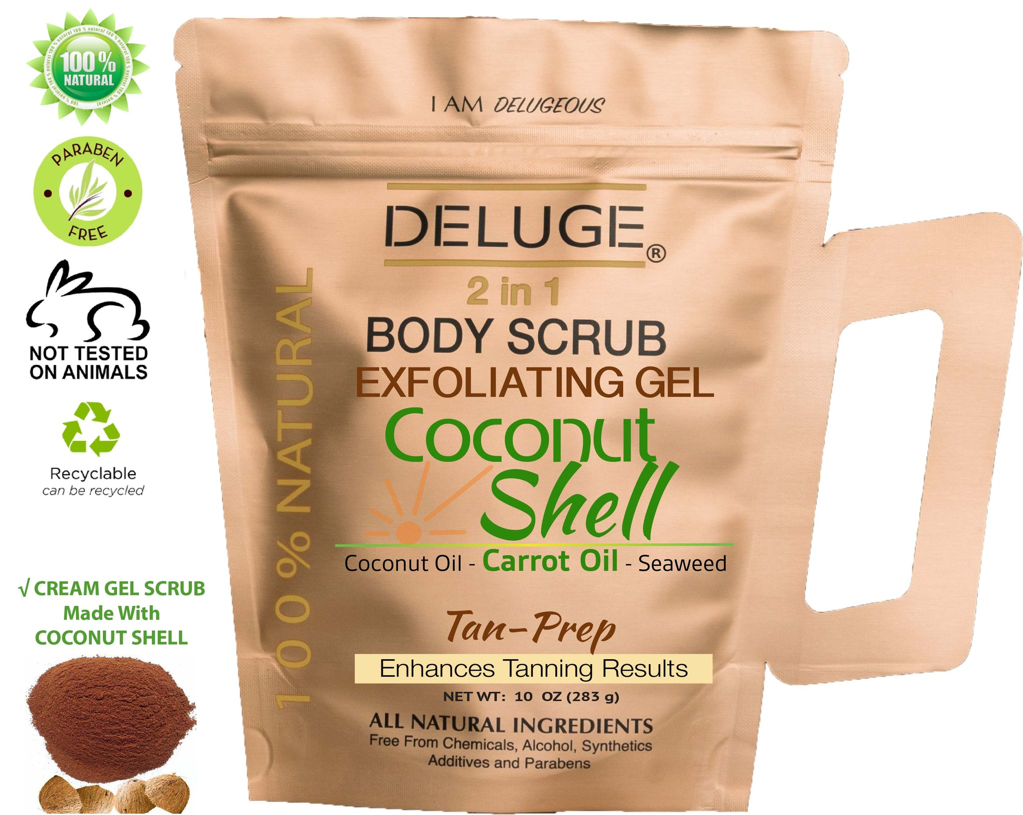 Coconut Shell Gel Scrub - Tan-Prep - Natural Oils