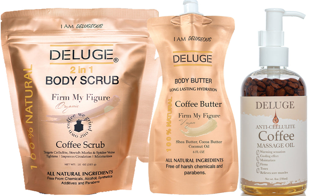 COFFEE SCRUB - COFFEE BUTTER - COFFEE MASSAGE OIL SET
