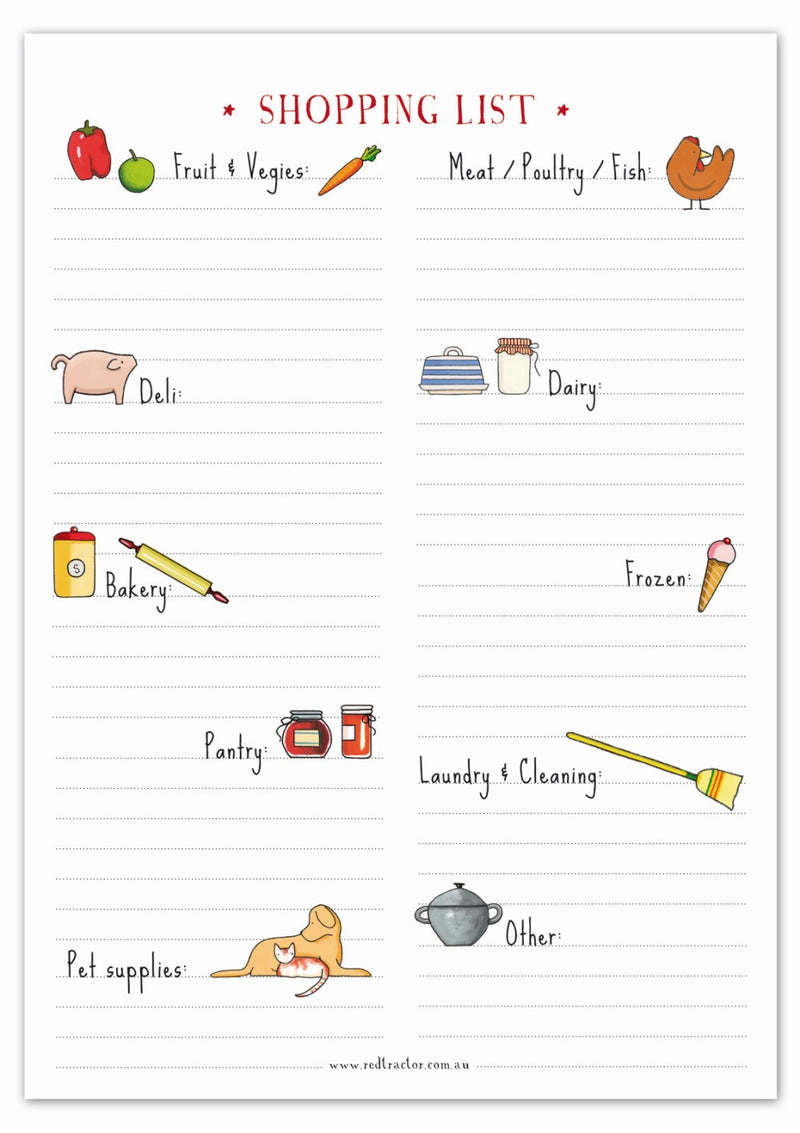 Red Tractor Designs Shopping List