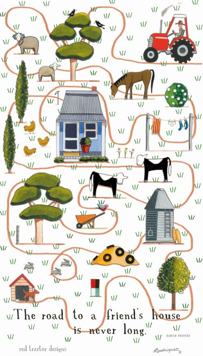 Red Tractor Designs Tea Towel Piambong Road