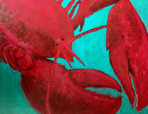 Claws for celebration Red Lobster head & claws, acrylic painting size 16x20