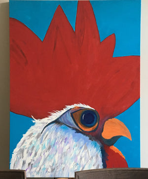 Rooster #5, acrylic painting, size: 36x48