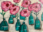 Bottlescape; Lovely Pink Roses in Green Bottles