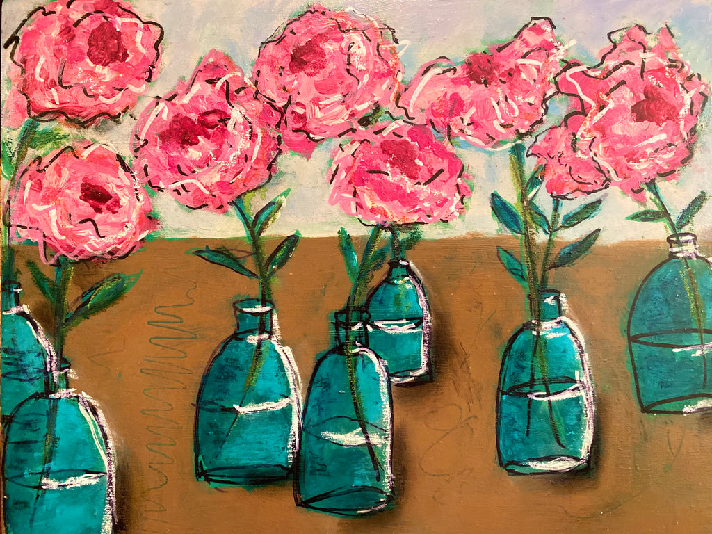 Bottlescape II; Lovely Pink Roses in Green Bottles