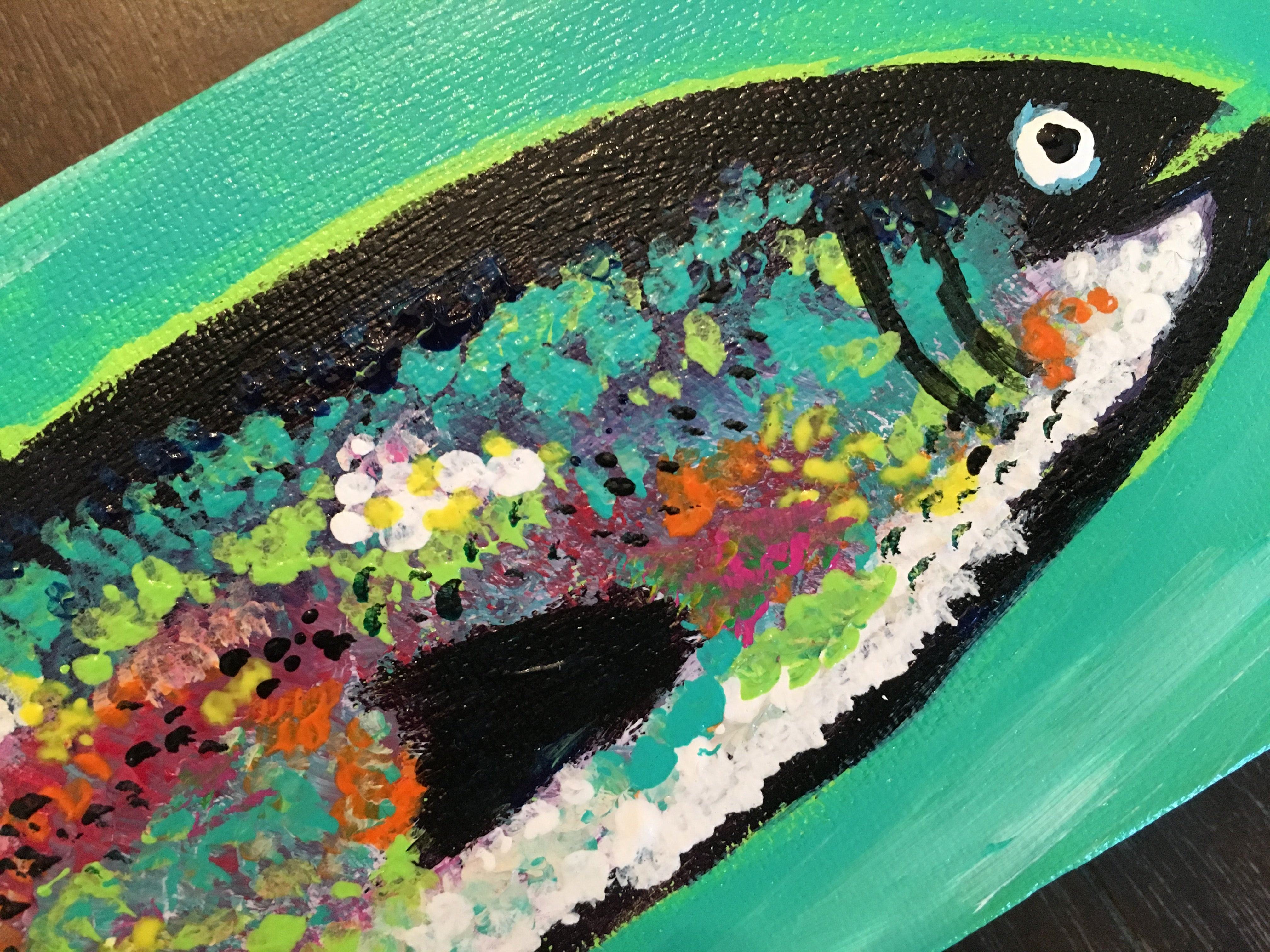 Rainbow Trout #8, acrylic painting, size: 4x12