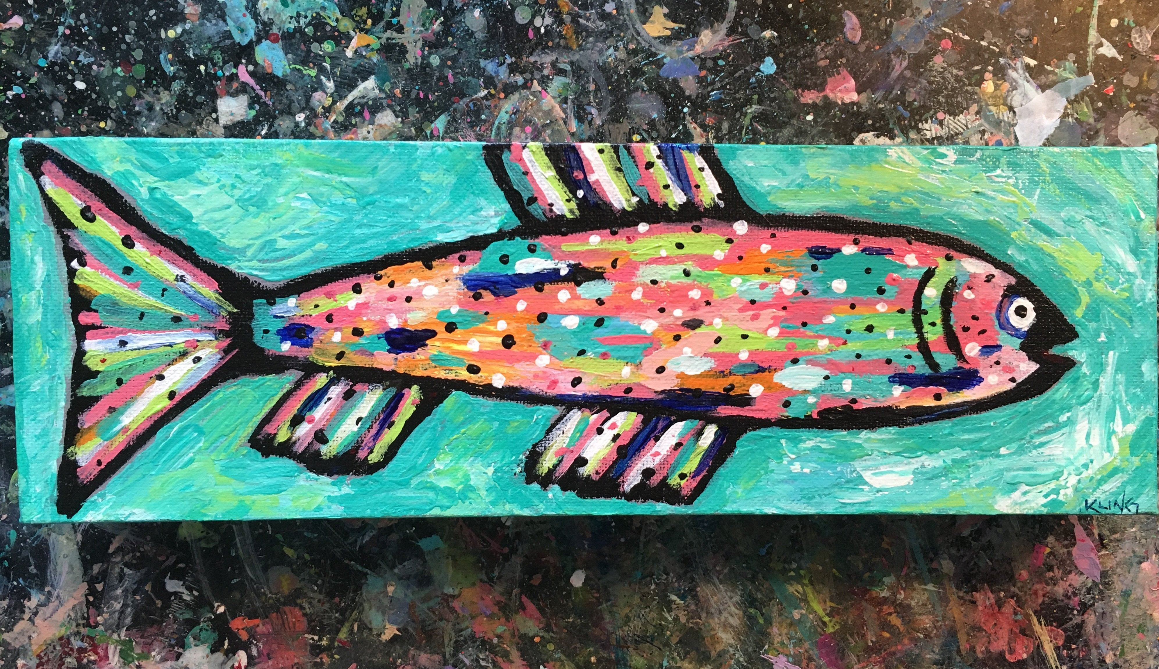 Rainbow Trout #12, acrylic painting, size: 4x12