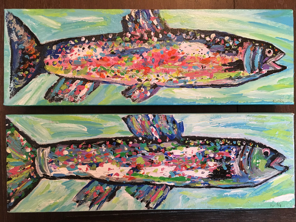 Pair of  Rainbow Trout #10& #11, acrylic painting, size: 4x12