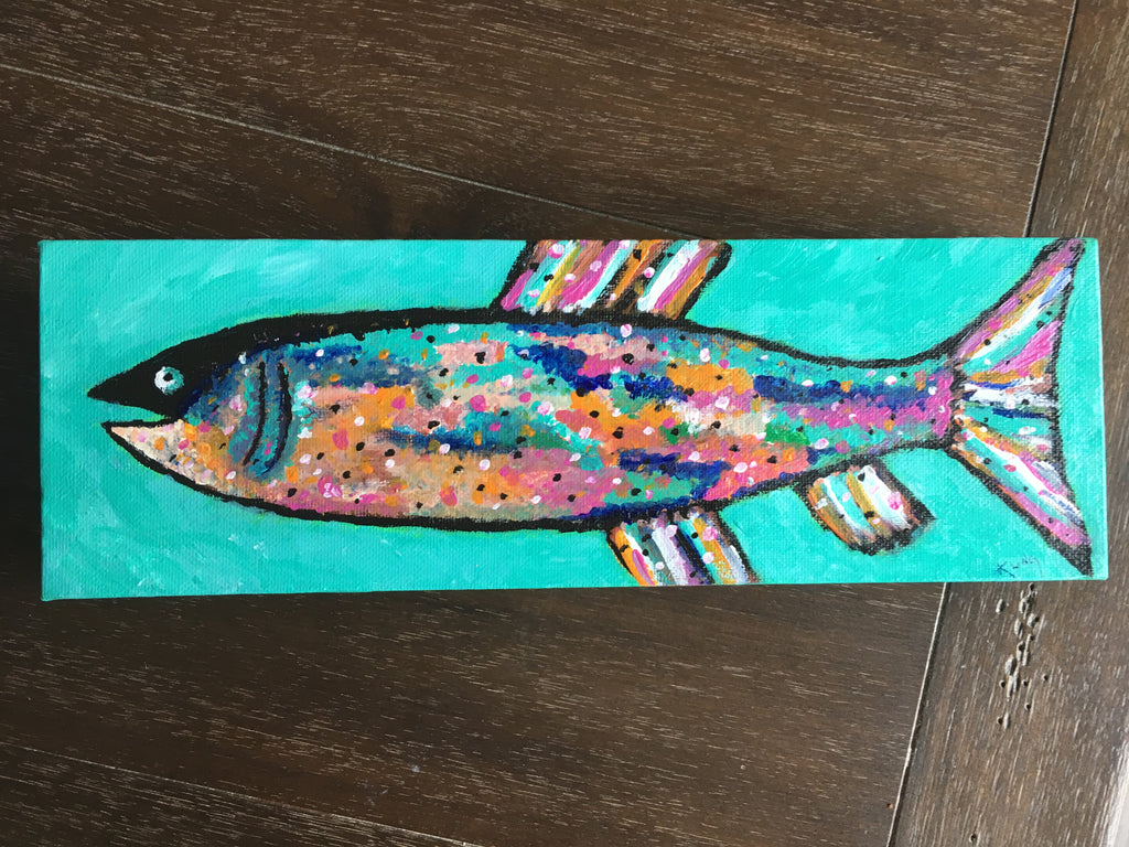Rainbow Trout #2, acrylic painting, size: 4x12