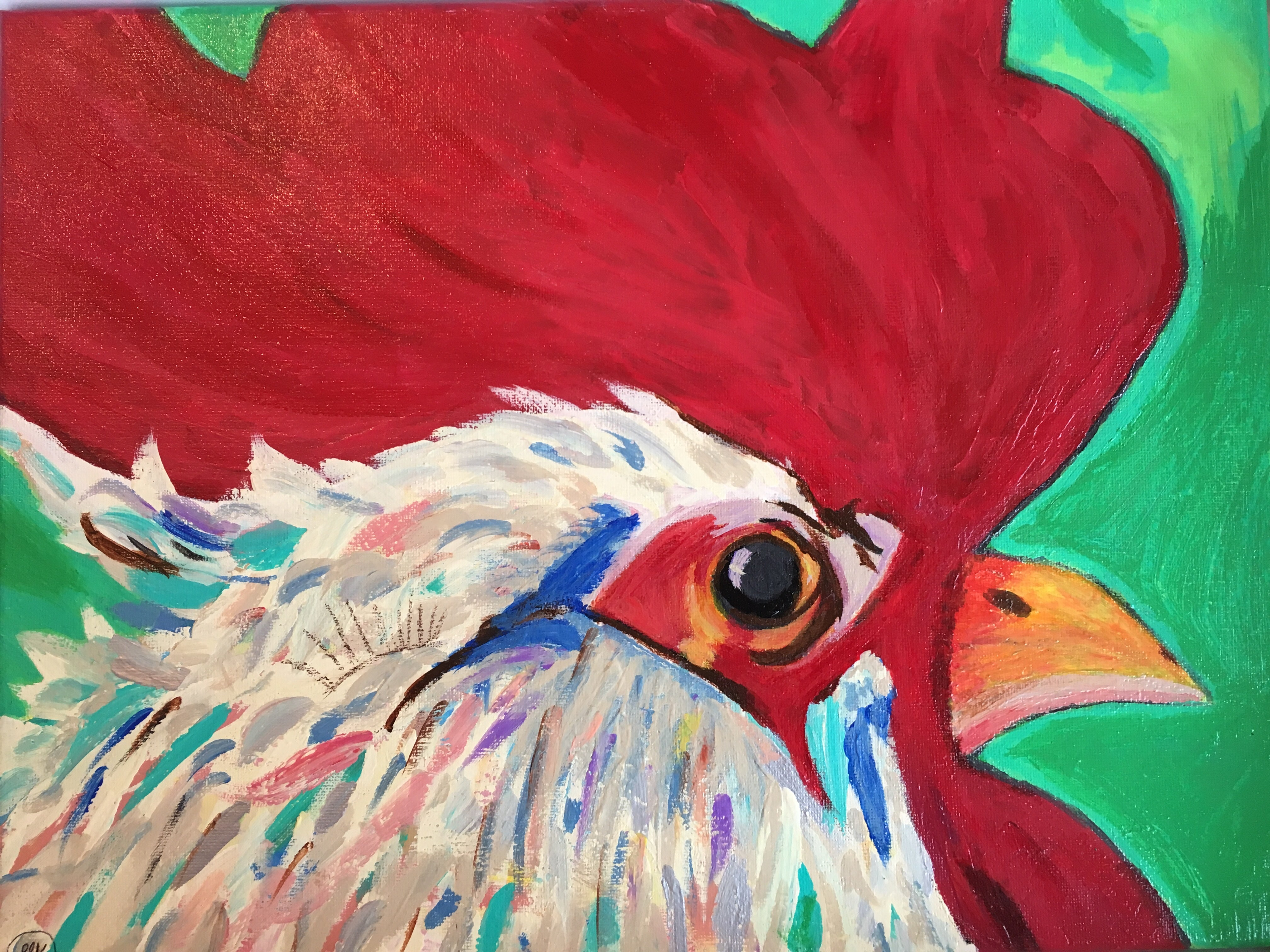 Rooster #3, acrylic painting, size: 12x16