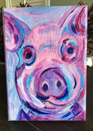 Pink Pig, acrylic painting, size: 5x7