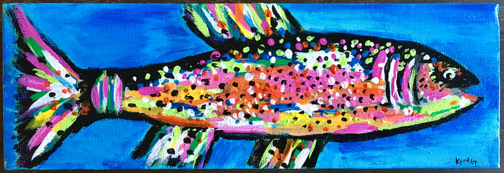 Pink Rainbow Trout #1, acrylic painting, size: 4x12
