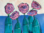 Bottlescape 6, Lovely Magenta Roses in Green Bottles