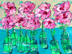 Bottlescape 7,   Pink Rose Profusion in Green Bottles