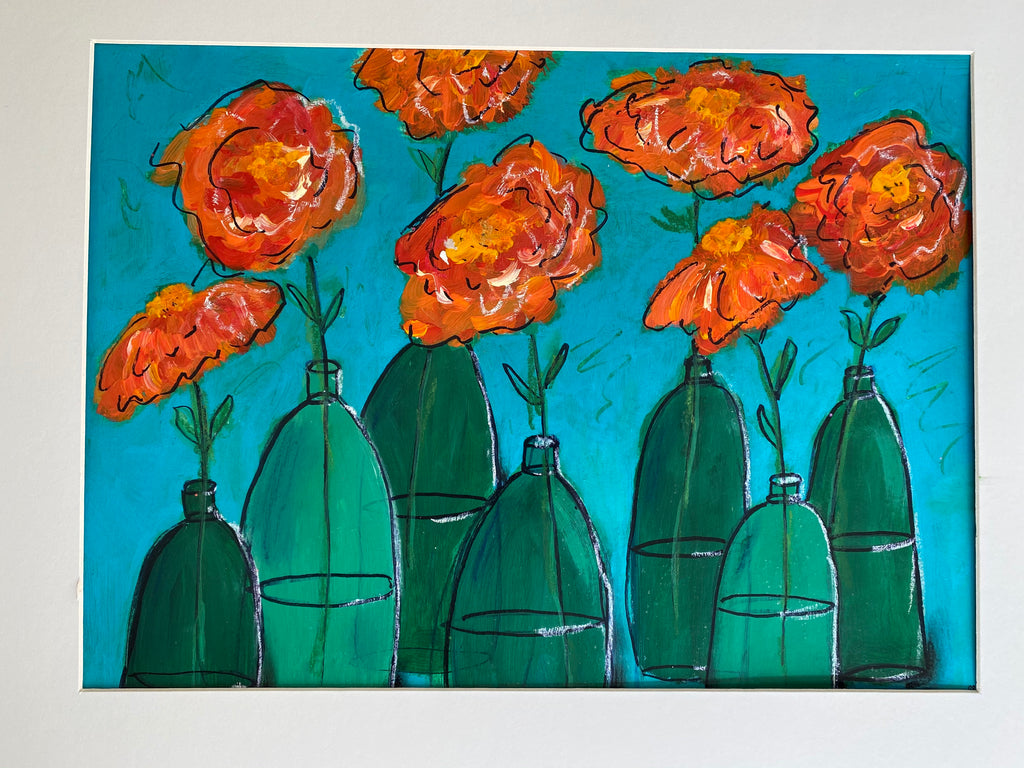 Bottlescape 5,  Lovely Orange Roses in Green Bottles