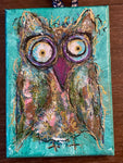 Meet Walter, Twinkle Owl, 5x7, Mixed Media on Canvas