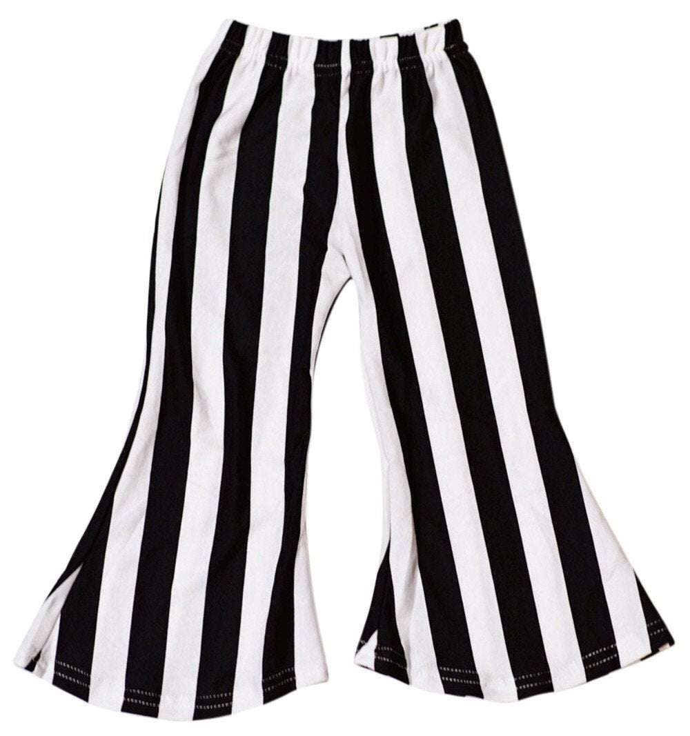 Boho Bell Bottoms - Black & White Stripe