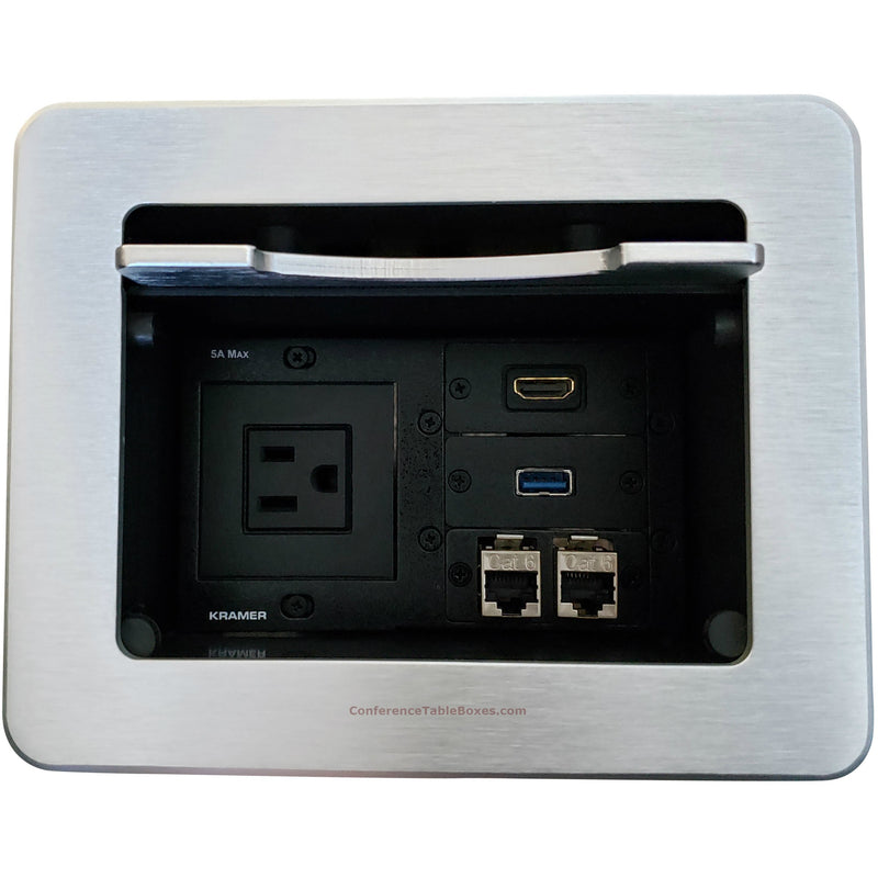 Kramer TBUS-5-S1 Cable Well Table Box with 1 Power,2 Cat6, 1 USB, 1 HDMI - Silver