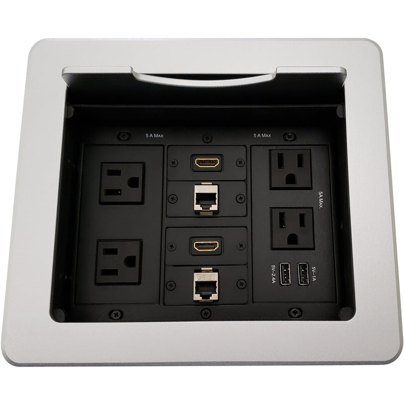 Kramer TBUS-1N-S1 Table AV Box, 4 Power, 2 HDMI, 2 Charging USB, 2 Cat6, Silver