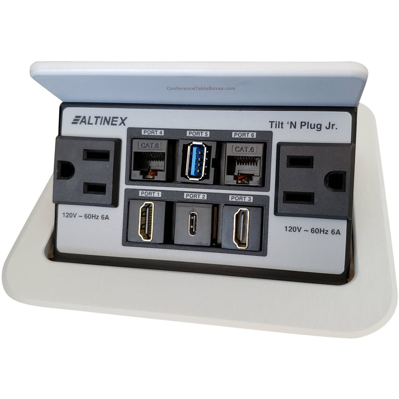 Pop Up Conference Table Connectivity Box Power Data, USB, HDMI, Silver