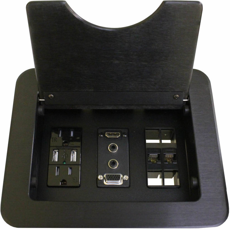 Cable Nook Table Box, 2 Power/Charging USB, 1 HDMI & VGA, 2 Data Black