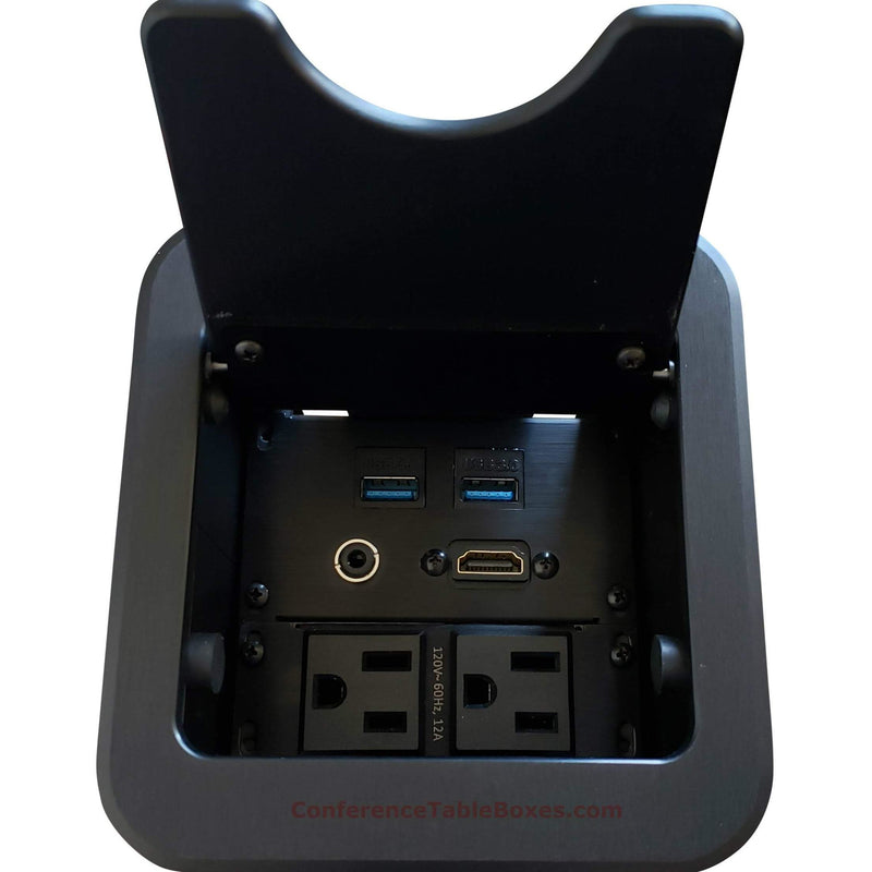 Altinex Cable Nook Jr Table Well Box, 2 Power, 1 HDMI, 2 USB, Black