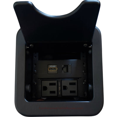 Altinex Cable Nook Jr Cable Well Box, 2 Power, 1 HDMI, 1 Cat6, Black